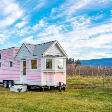 pink Victorian tiny house